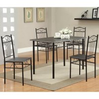 Black Metal Dining Table and Chair Set