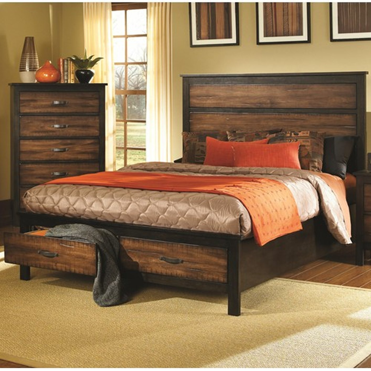 Brown Wood California King Size Bed