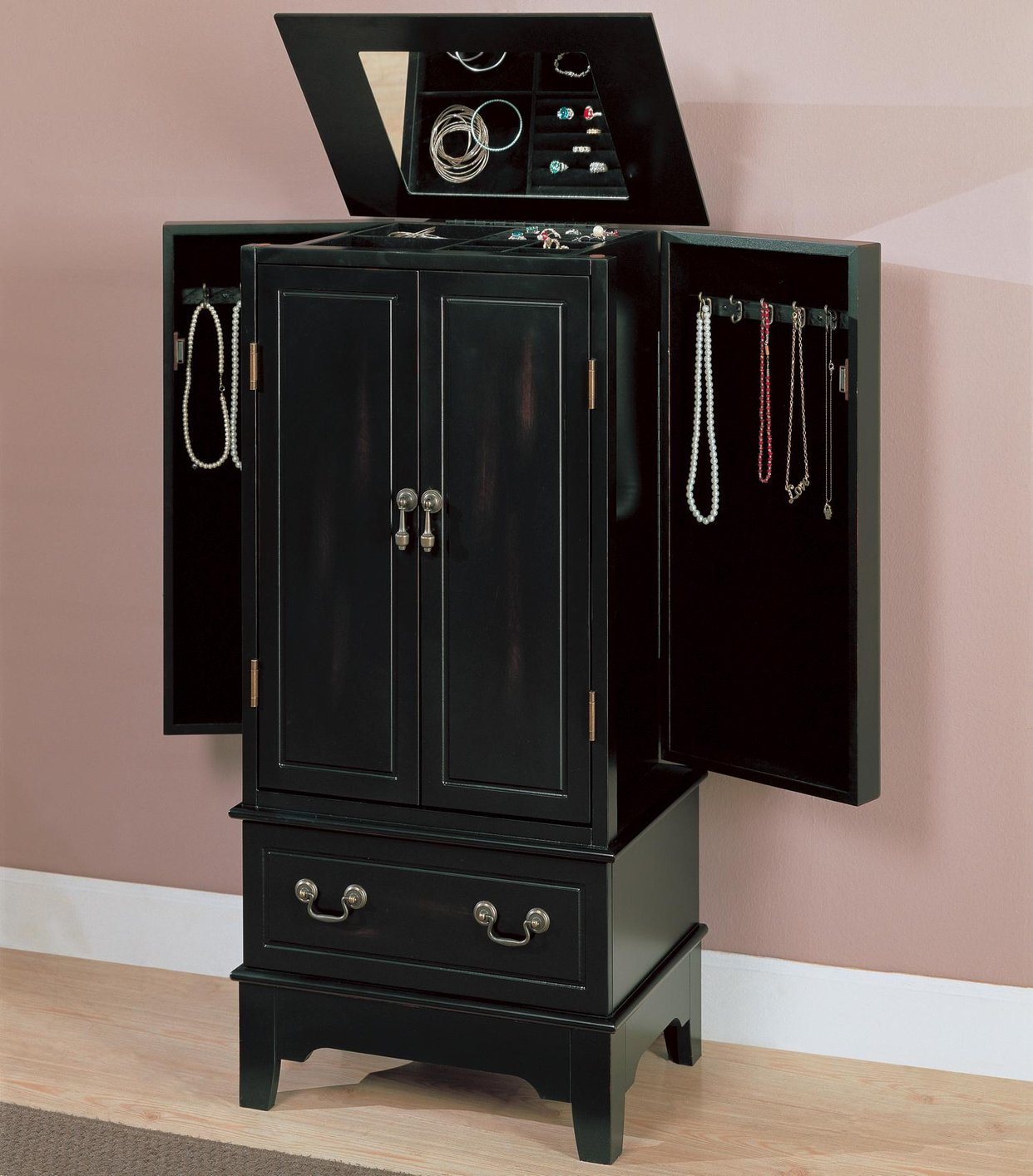 Black Wood Jewelry Armoire  StealASofa Furniture Outlet