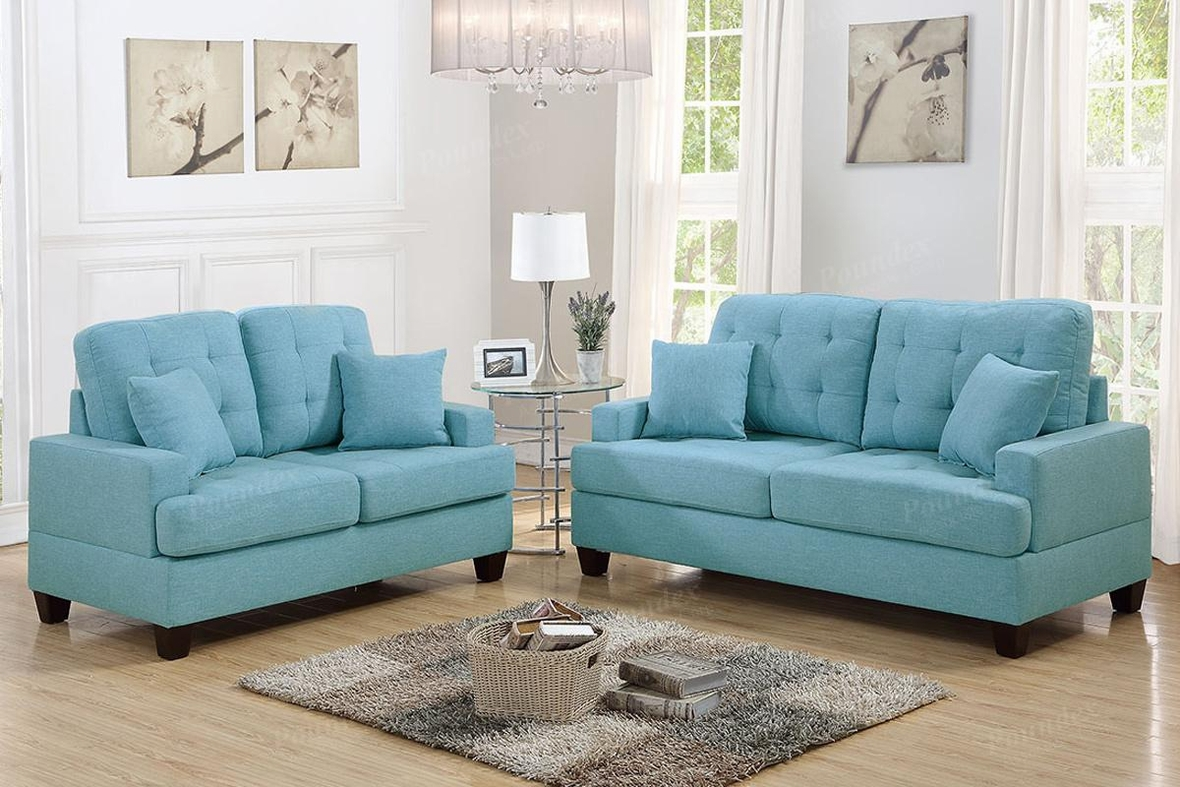 Blue Fabric Sofa And Loveseat Set Steal A Sofa Furniture Outlet Los Angeles CA