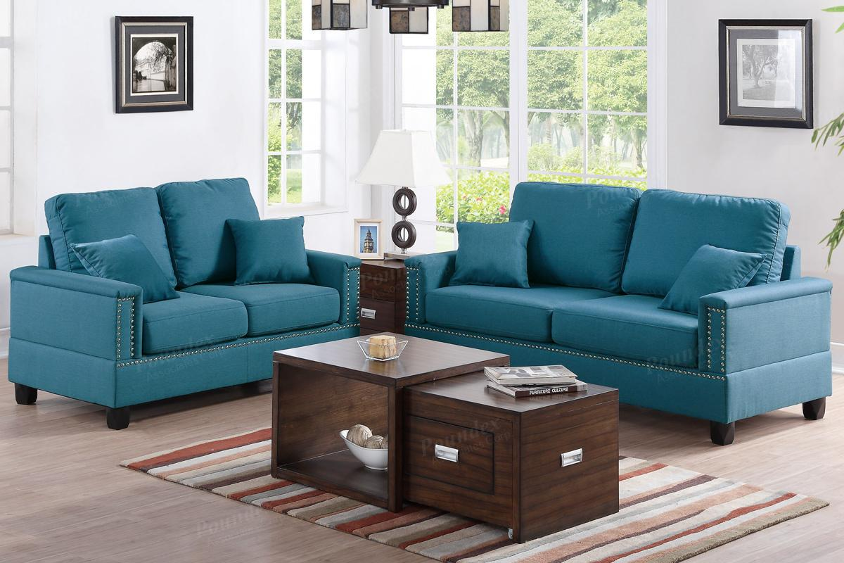 sofa sets for hall dark green leather sectional blue fabric and loveseat set steal a furniture
