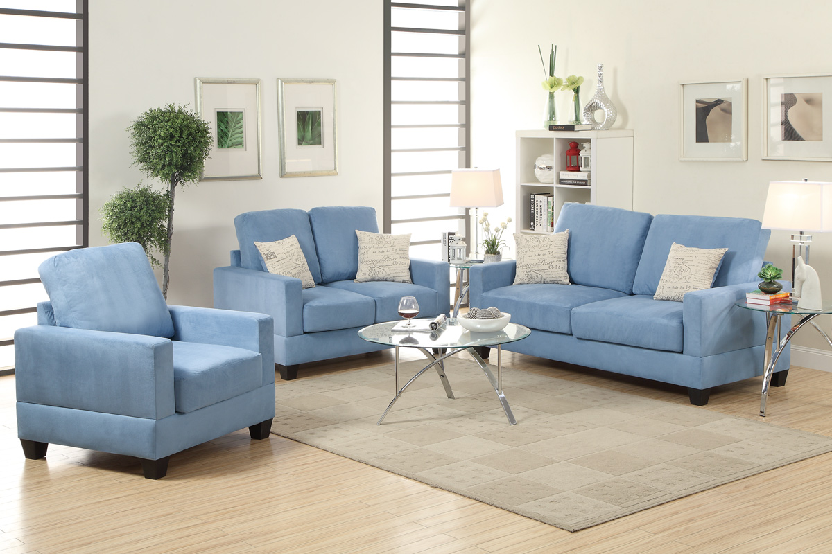 Blue Wood Sofa Loveseat And Chair Set Steal A Sofa