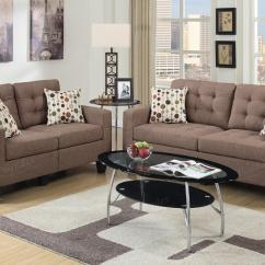 Tan Sofa And Loveseat Cleo Loafer Medium Brown Fabric Set Steal A