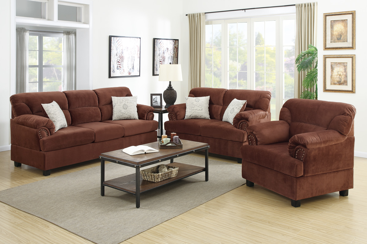 couch and chair set covers for folding chairs wedding brown wood sofa loveseat steal a