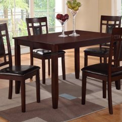 Dining Table With Leather Chairs Discount Patio Chair Cushions Poundex F2232 Brown And Set