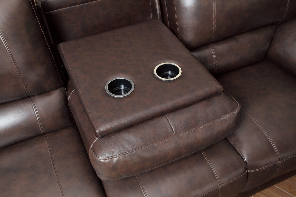 reclining sofa leather brown denim sectional power steal a