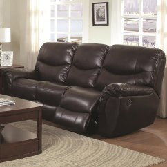 Reclining Sofa Leather Brown Sleeper Full Size Dimensions Steal A Furniture
