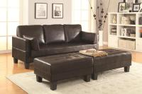 Brown Leather Sofa Bed and Ottoman Set - Steal-A-Sofa ...