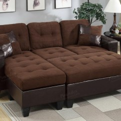 Brown Leather And Fabric Sectional Sofa Large U Shaped Uk Poundex Cantor F6928