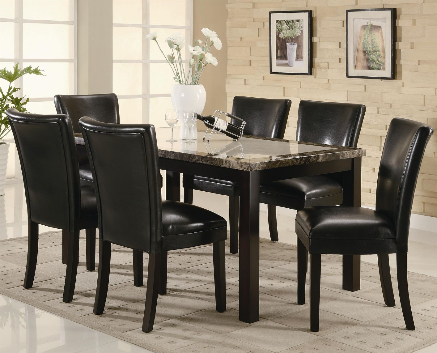 dark brown wooden dining chairs dove hunting carter wood and marble table set steal