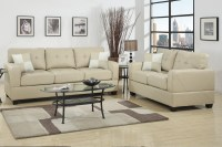 Beige Leather Sofa and Loveseat Set - Steal-A-Sofa ...