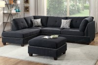 Black Fabric Sectional Sofa and Ottoman - Steal-A-Sofa ...