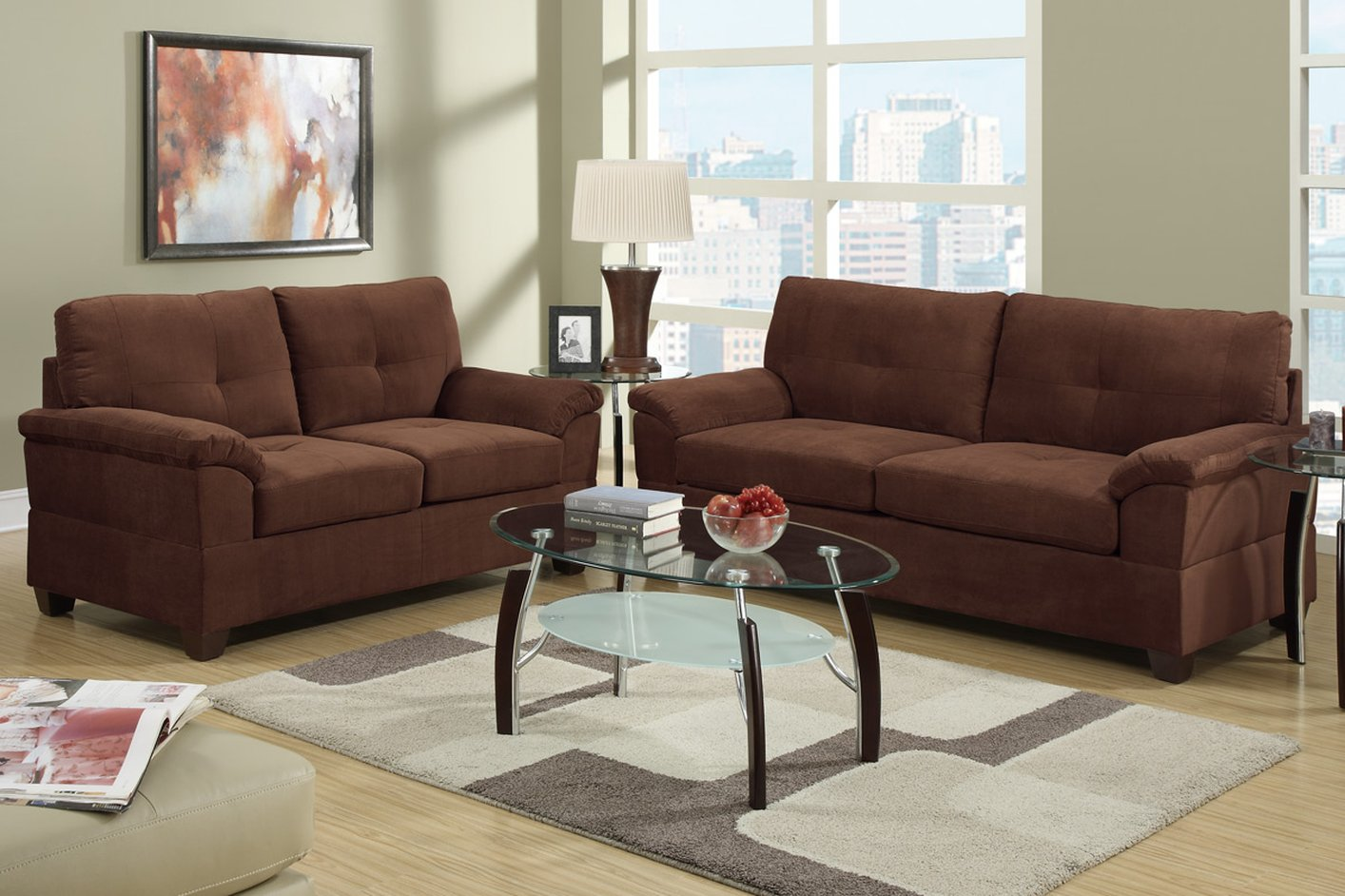 tan sofa and loveseat slipcover bed couches elimination brown fabric set steal a