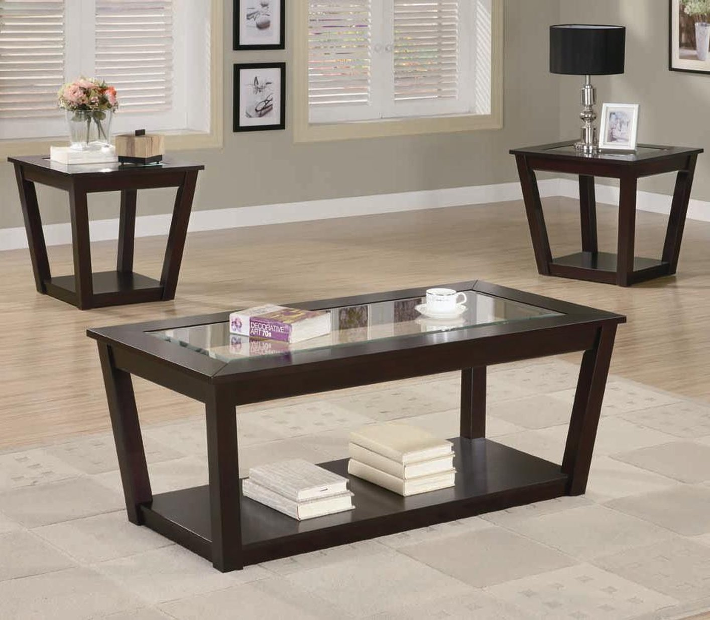 Brown Wood Coffee Table Set  StealASofa Furniture
