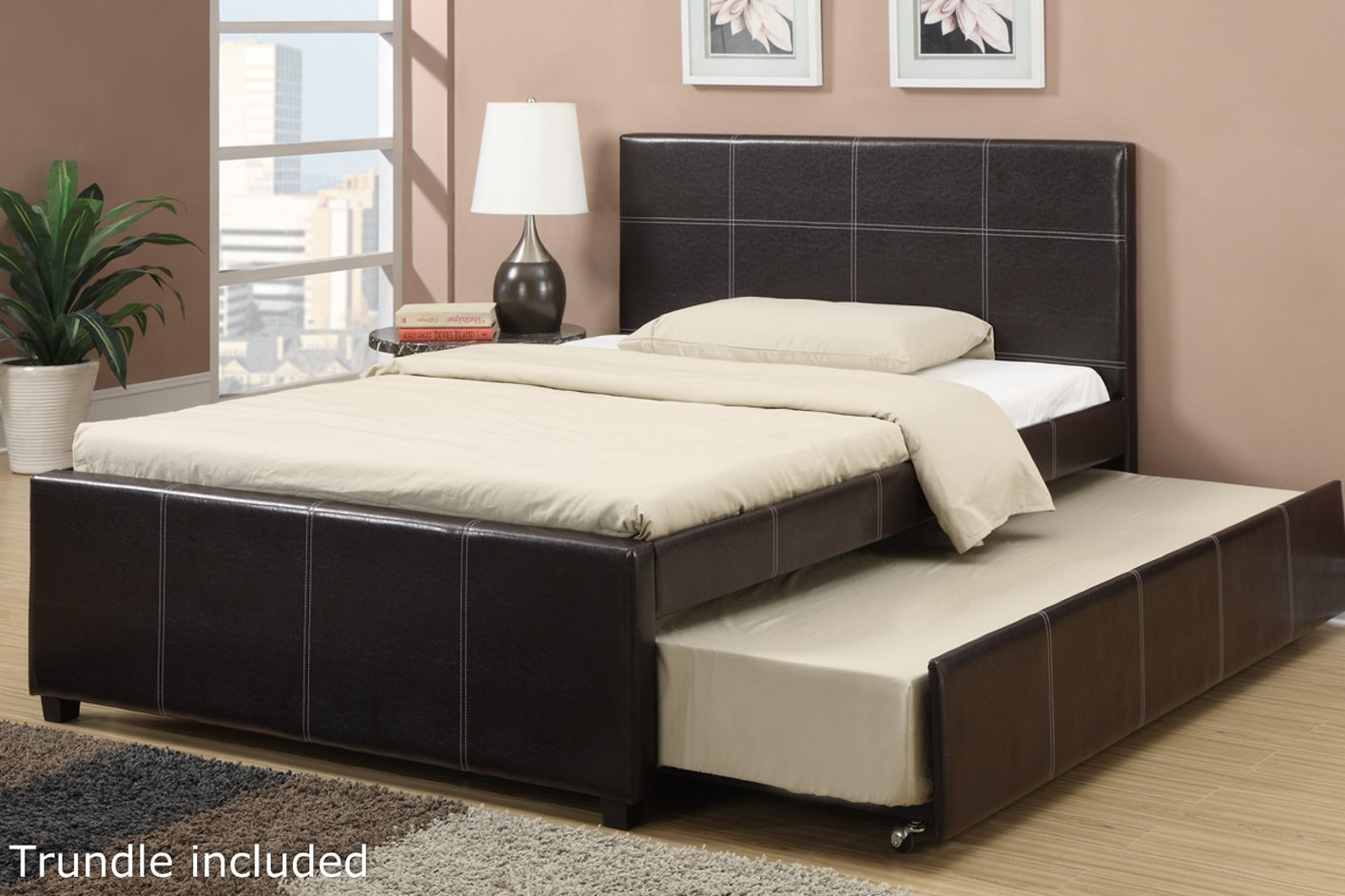 Black Leather Full Size Bed Steal A Sofa Furniture