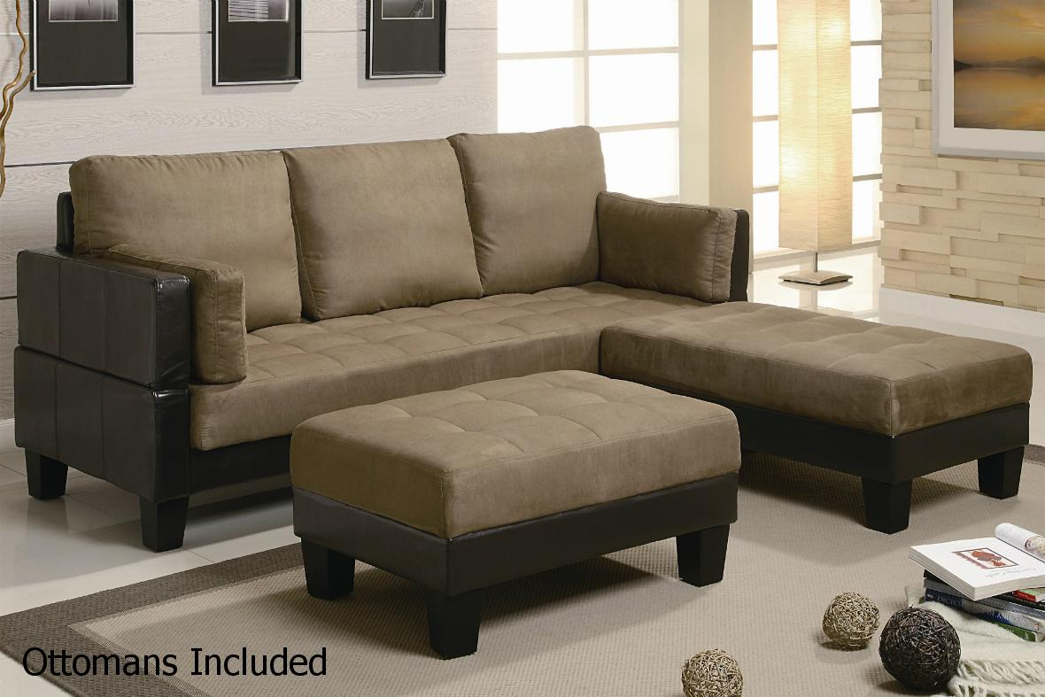 Brown Leather Sectional Sofa and Ottoman  StealASofa Furniture Outlet Los Angeles CA