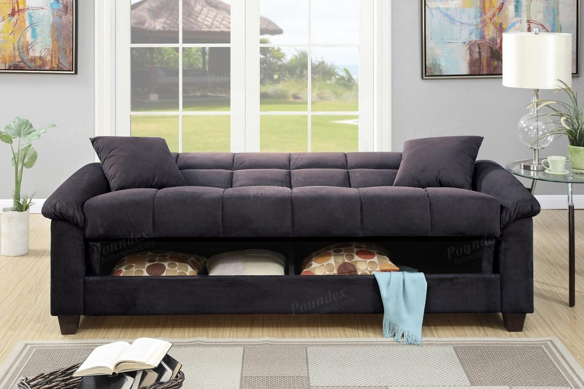Black Fabric Sofa Bed  StealASofa Furniture Outlet Los Angeles CA