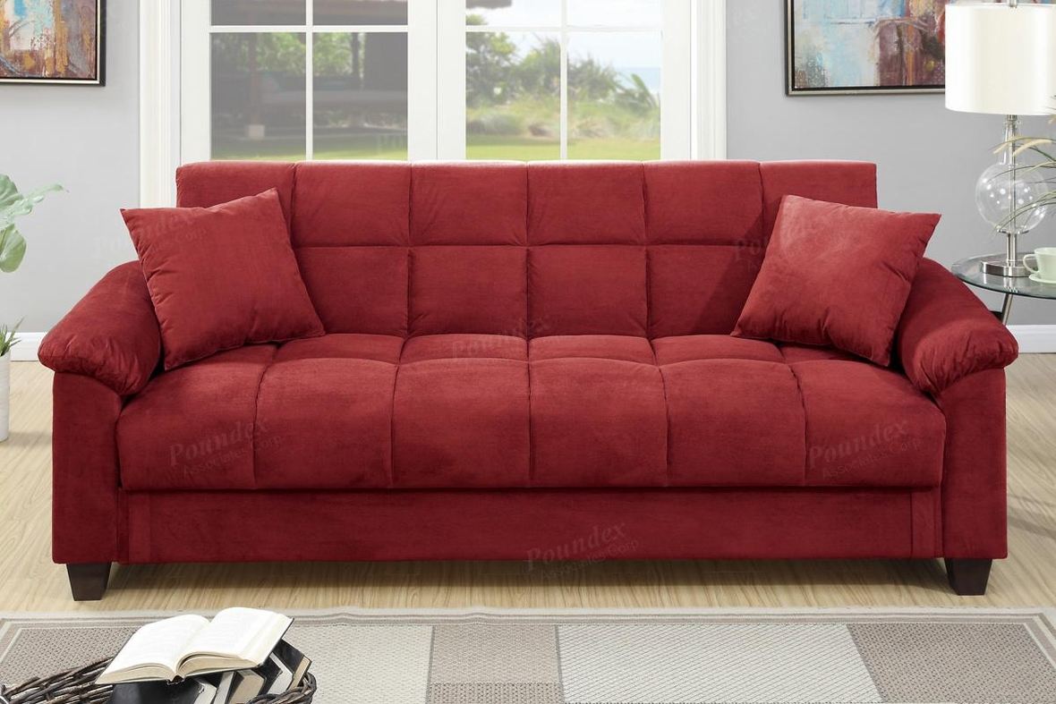 red fabric sofa sleeper slipcover t cushion bed steal a furniture outlet los