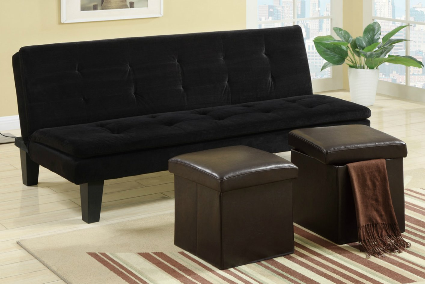 Black Fabric Twin Size Sofa Bed  StealASofa Furniture Outlet Los Angeles CA