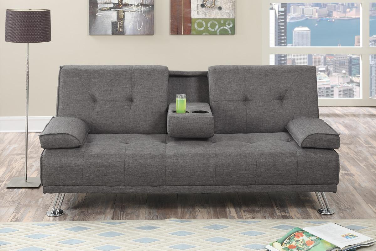 cup holder sofa bed 2 seater beds uk grey fabric futon - steal-a-sofa furniture outlet los ...