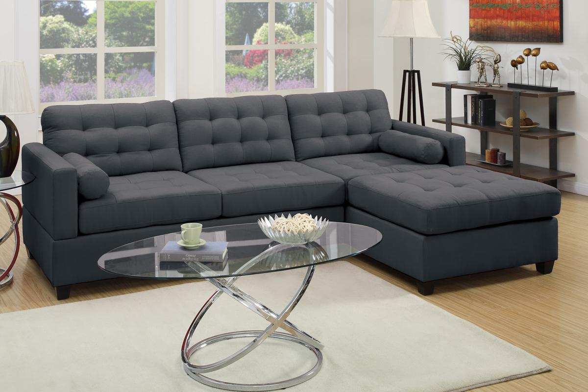 Grey Fabric Sectional Sofa  StealASofa Furniture Outlet