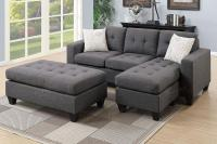 Grey Fabric Sectional Sofa - Steal-A-Sofa Furniture Outlet ...