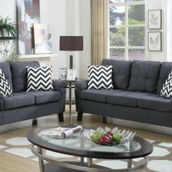 Gray Fabric Sofa Set Retro Style Sofas And Chairs Grey Loveseat Living Room Sets