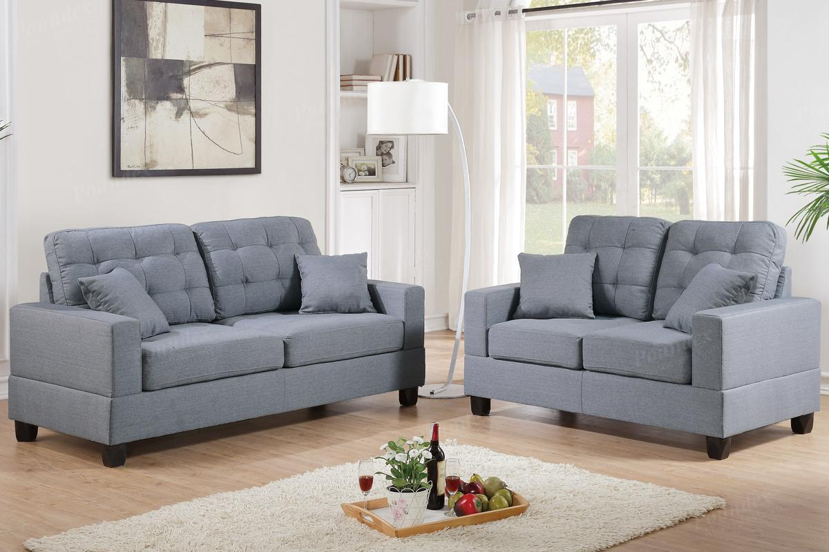 gray fabric sofa set bed with trundle and loveseat sets sofas kelvington