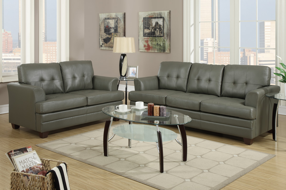 leather couch and chair set white covers for metal folding chairs grey sofa loveseat steal a