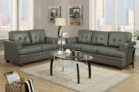 Grey Leather Sofa and Loveseat Set - Steal-A-Sofa ...