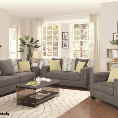 Living Room With Loveseat And Chairs Small Country Decorating Ideas Kelvington Grey Fabric Reclining Sofa Set Steal A Furniture Outlet Los Angeles Ca
