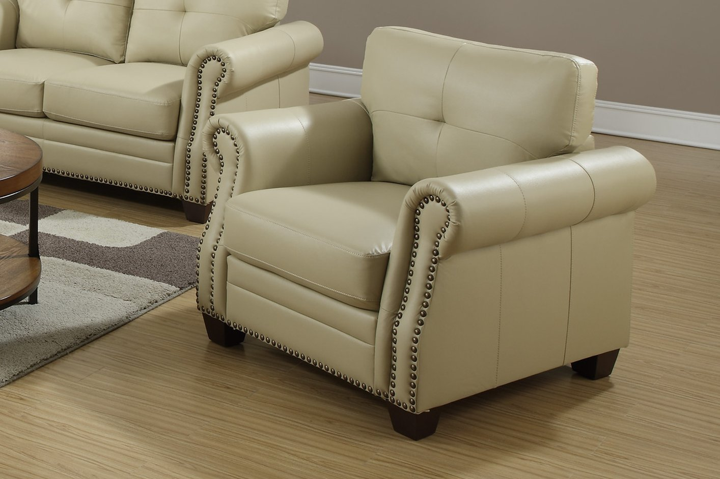 beige leather dining chairs cushions for office desk chair steal a sofa furniture outlet los
