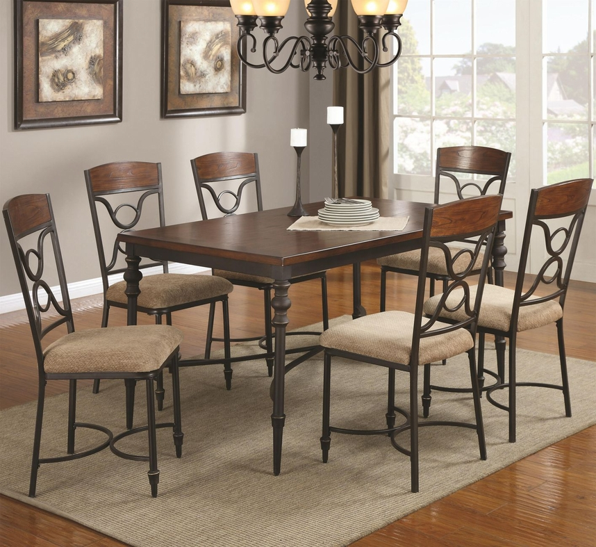 Klaus Cherry Metal And Wood Dining Table Set  StealA