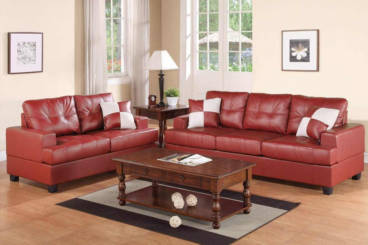 burgundy leather sofa and loveseat global furniture bonded red set steal a
