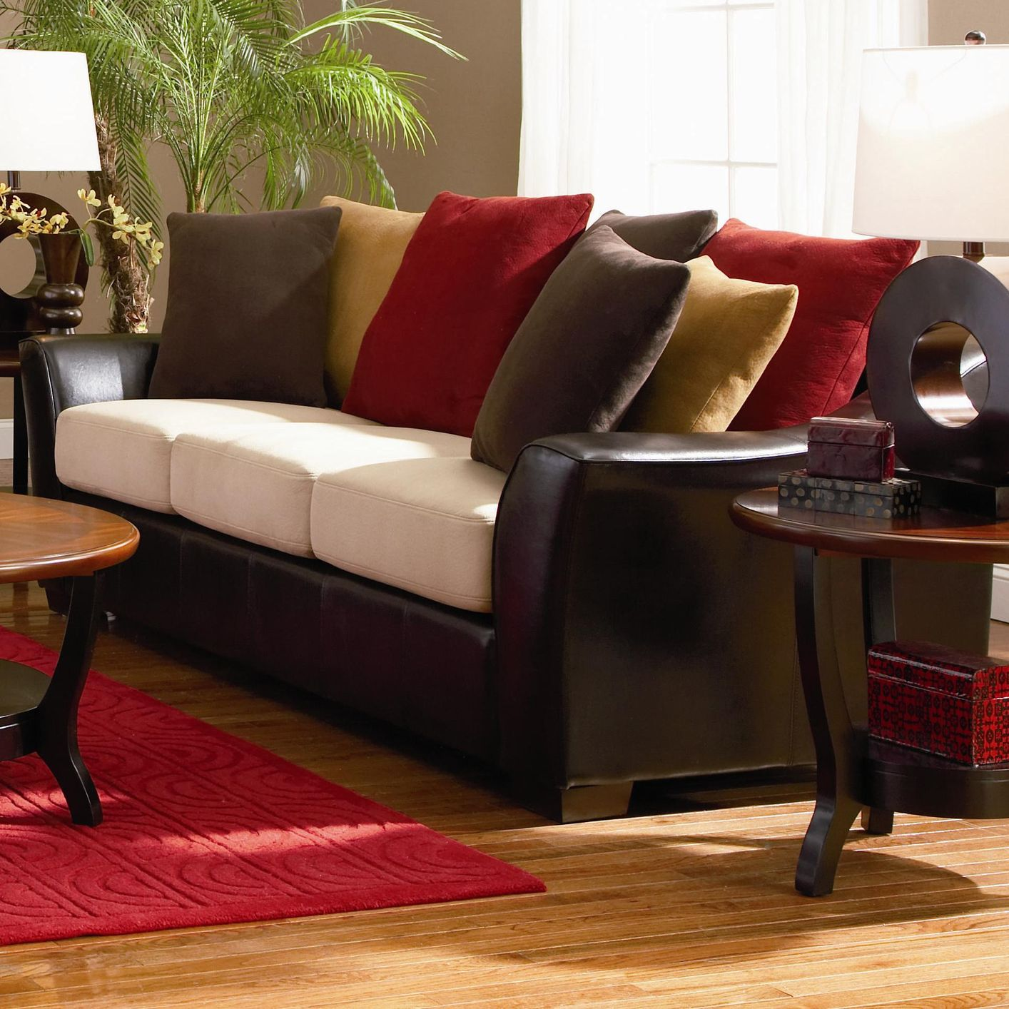 brown and beige sofa vogue microfiber reversible chaise sectional multiple colors lily steal a furniture outlet