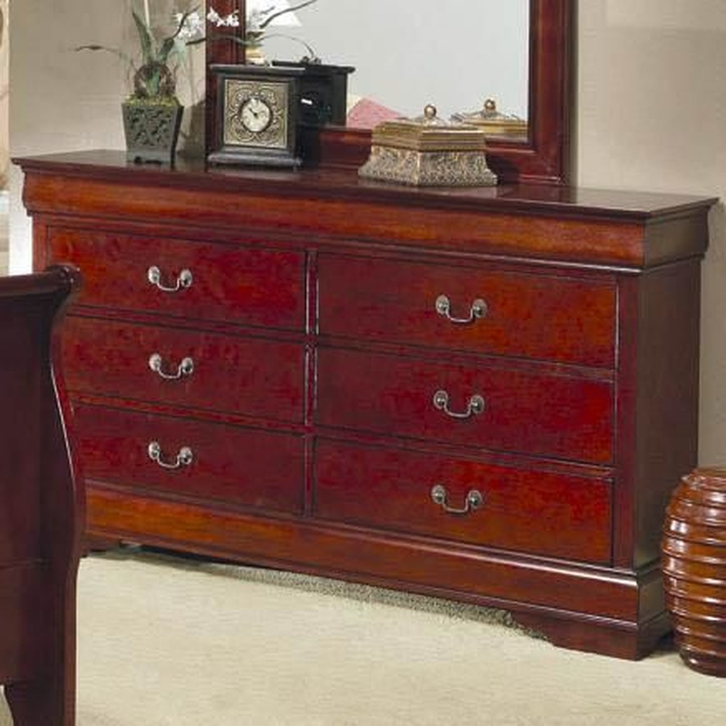 Louis Philippe Cherry Wood Dresser  StealASofa Furniture Outlet Los Angeles CA