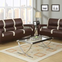 Ivory Sofa Set Replacement Foam For Seats Mabel Brown And Bonded Leather Loveseat