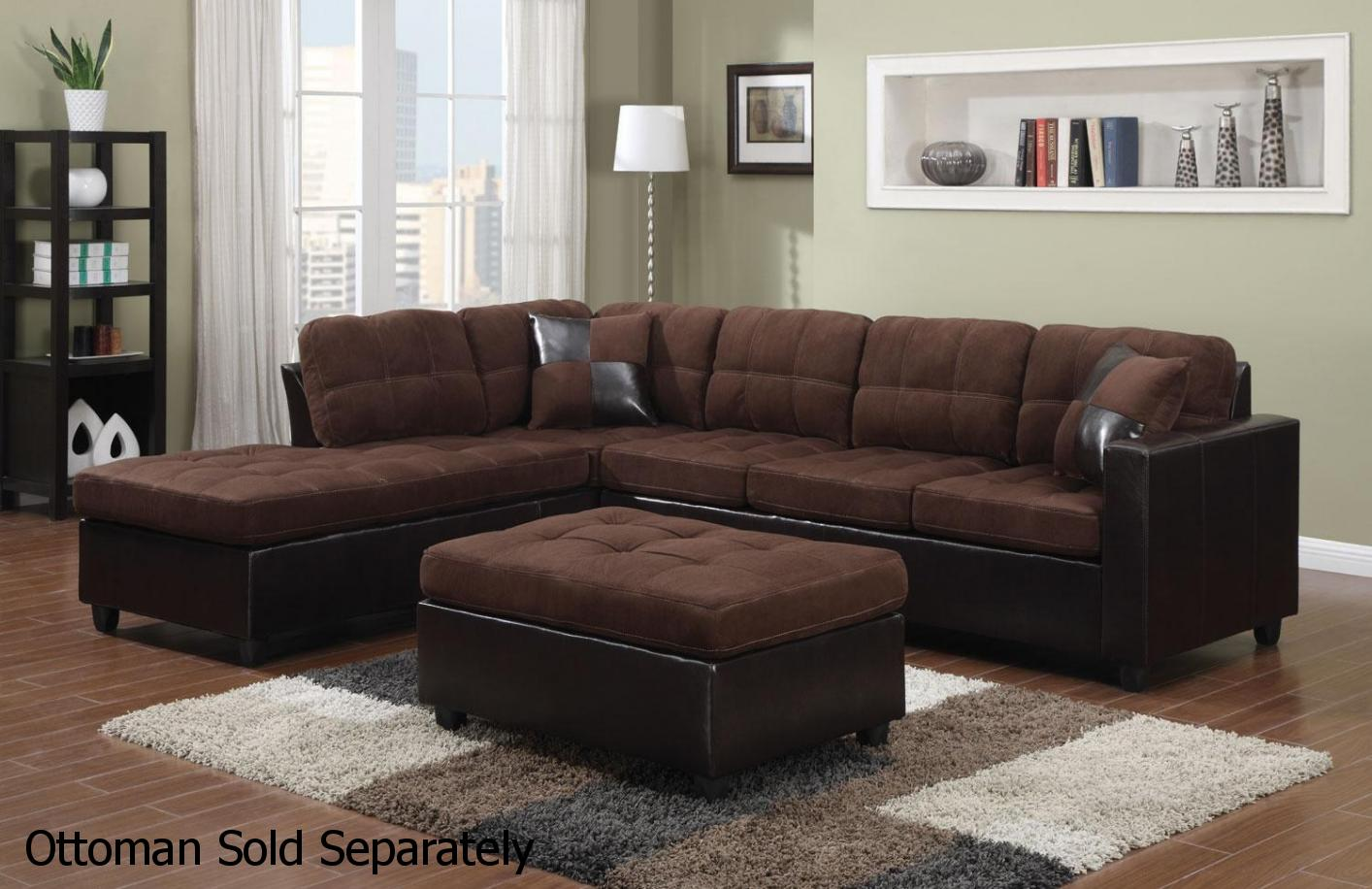 brown leather and fabric sectional sofa small suitable for kitchen steal a furniture