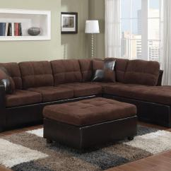 Brown Leather And Fabric Sectional Sofa Diy Pallet Instructions Mallory Steal A