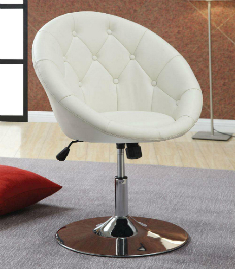 White Leather Swivel Chair  StealASofa Furniture Outlet
