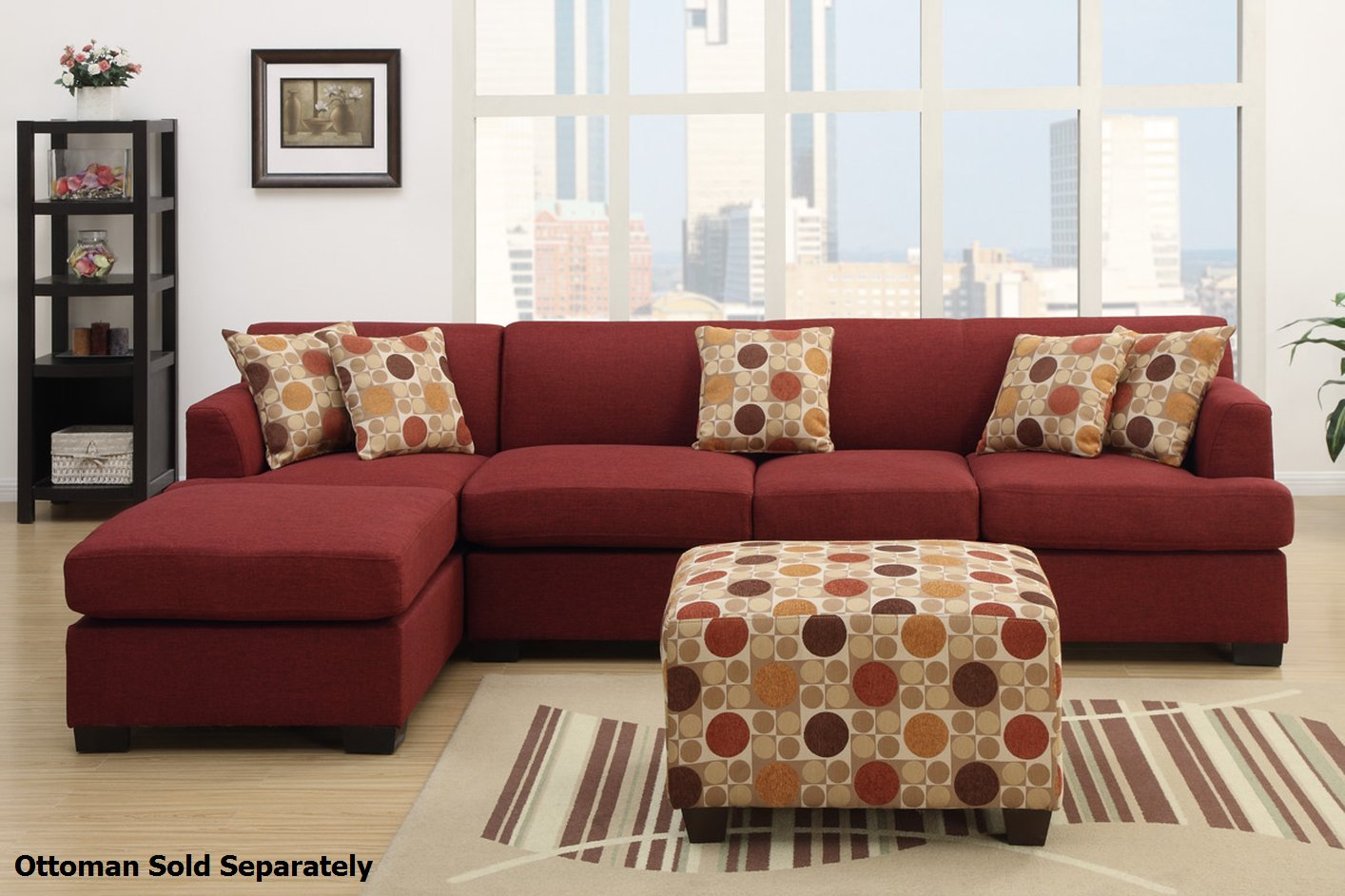 Red Fabric Sectional Sofa  StealASofa Furniture Outlet Los Angeles CA