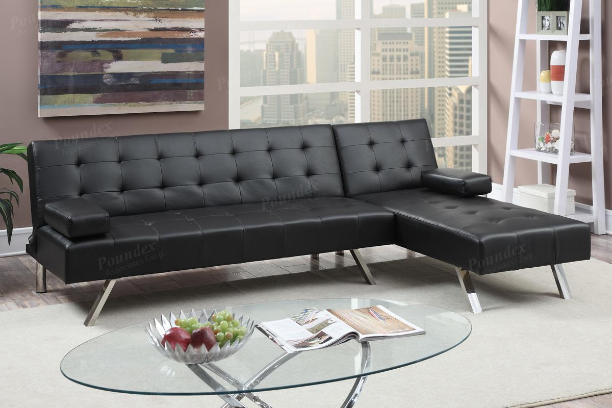 Black Leather Sectional Sofa Bed  StealASofa Furniture