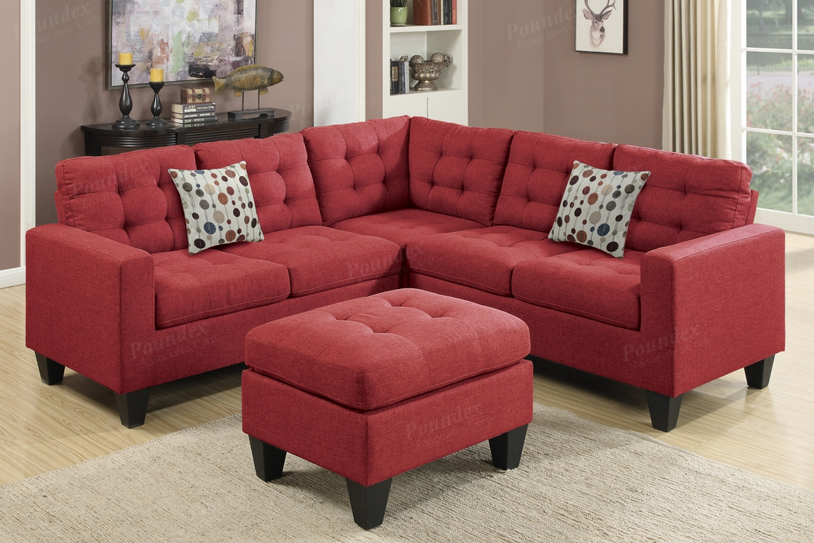 Red Fabric Sectional Sofa and Ottoman  StealASofa Furniture Outlet Los Angeles CA