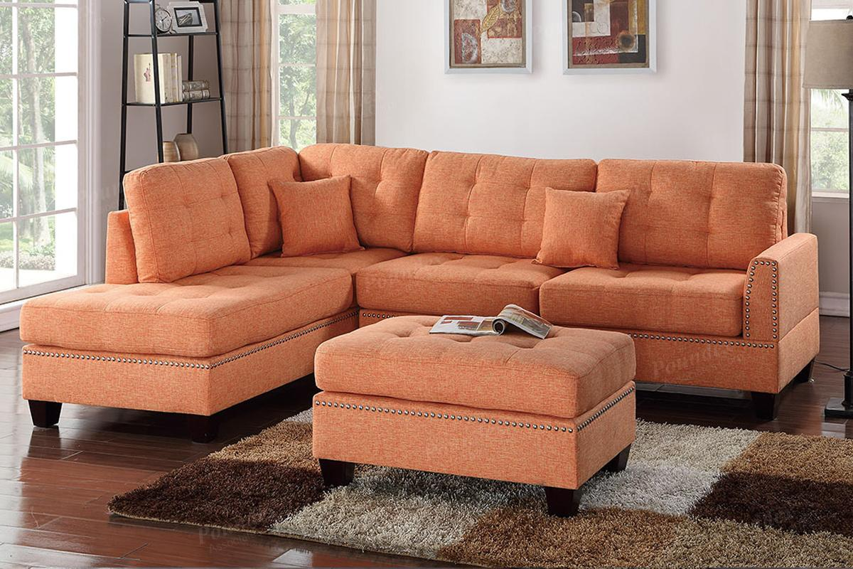 orange fabric sectional sofa corner sofas under 300 and ottoman steal a