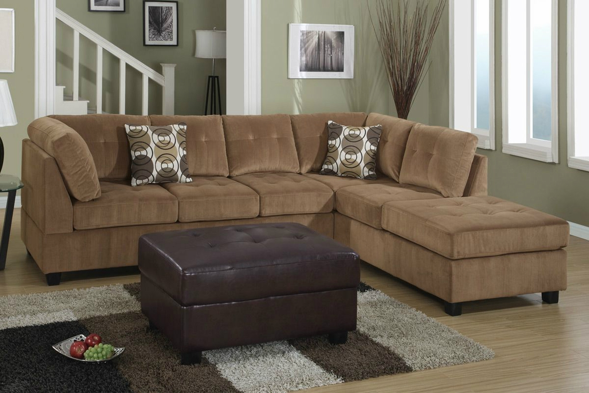 Poundex Pablo F7262 Brown Microfiber Sectional Sofa In Los Angeles Ca