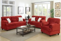 Red Wood Sofa Loveseat and Chair Set - Steal-A-Sofa ...