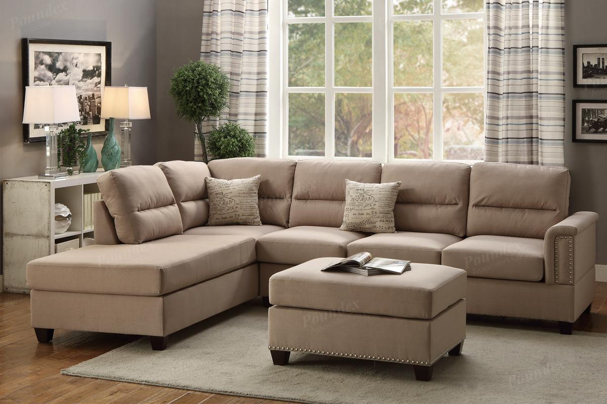 brown fabric sofa grey chaise longue and ottoman 4 piece modular sectional