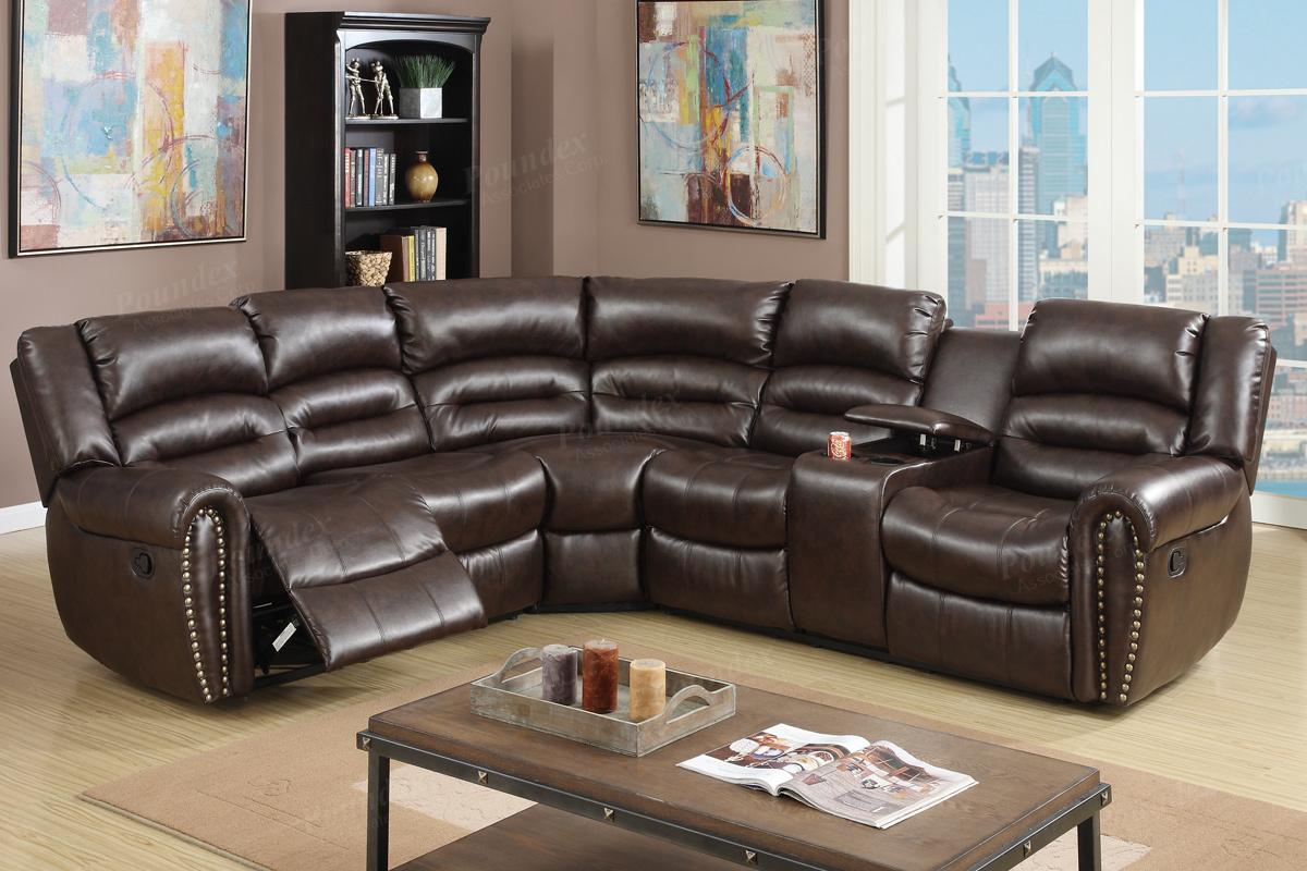 brown leather sofa recliner black bed argos reclining sectional steal a furniture