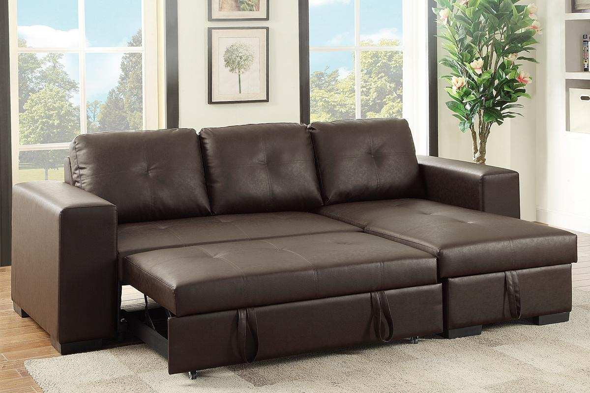 Brown Leather Sectional Sleeper Sofa  StealASofa