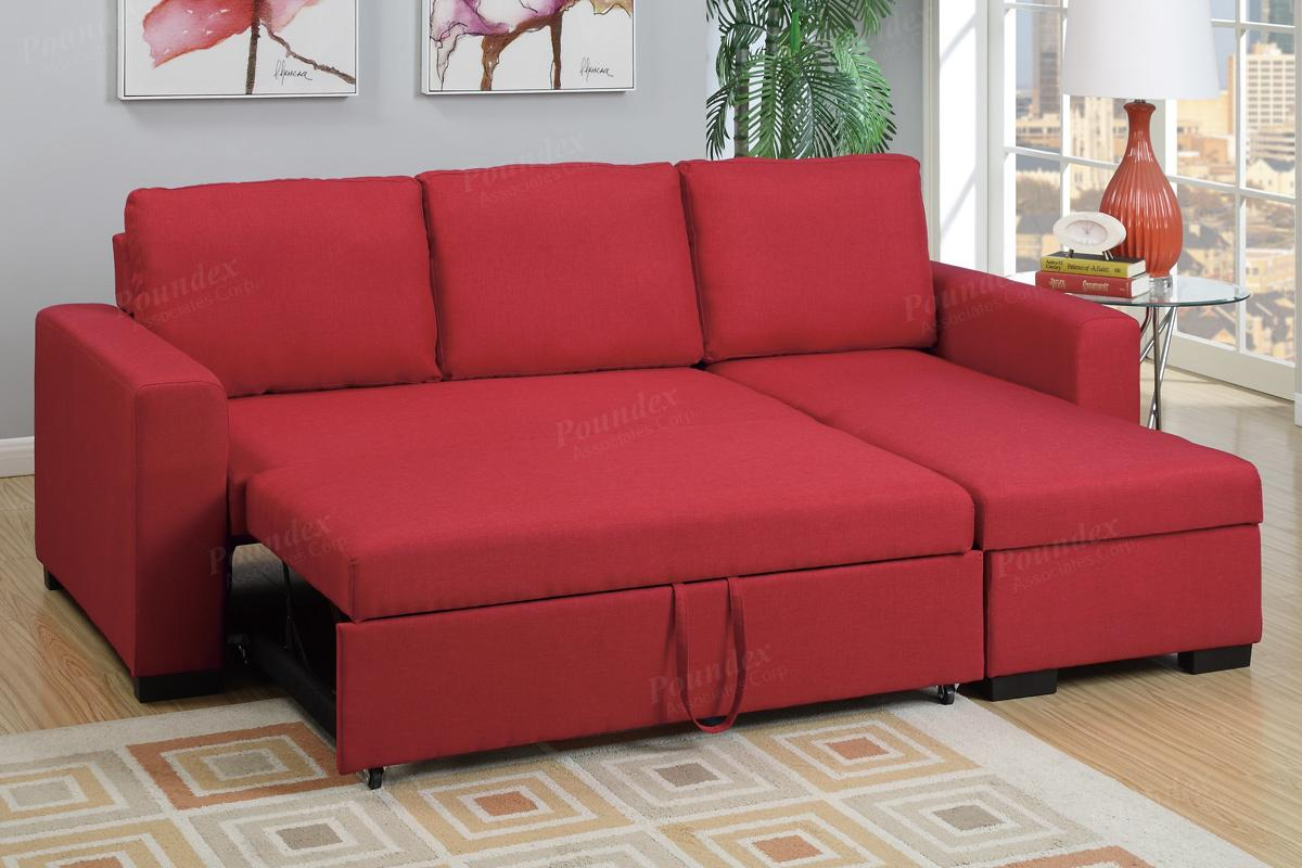 red fabric sofa decorating a table ideas sectional bed steal furniture
